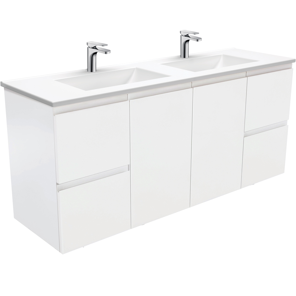 Vanessa Fingerpull Matte White 1500 Double Bowl Wall-Hung Vanity