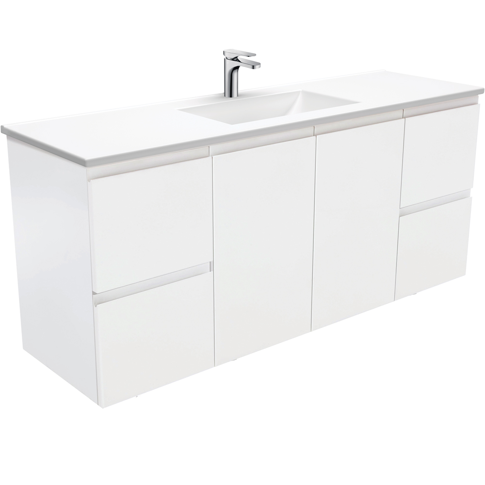 Vanessa Fingerpull Matte White 1500 Single Bowl Wall-Hung Vanity